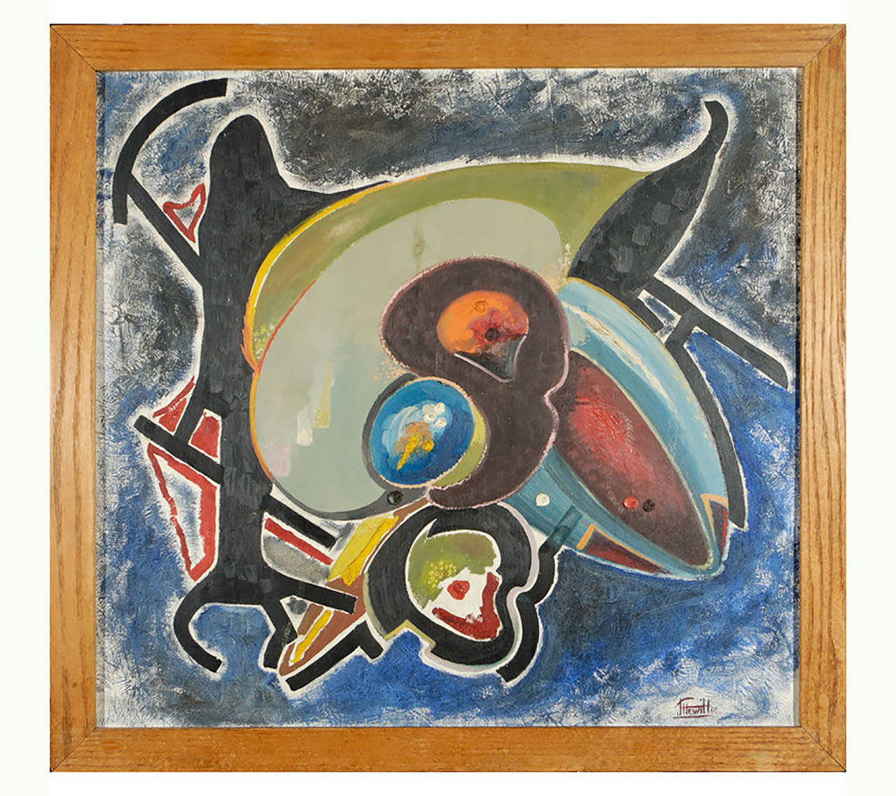 With a technique undoubtedly inspired by Braque, this 1960 abstract painting appears to be a surrealistic still life. Lively colors included blue, green, red, orange, yellow and black. Signed J. Hewitt 60, and framed with a simple oak molding.