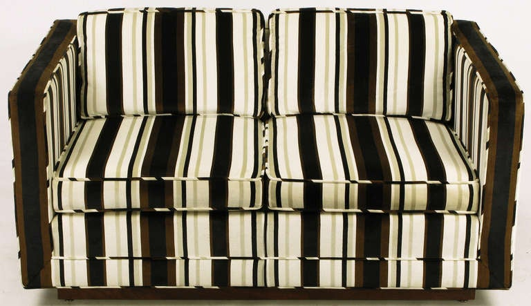 Marden Even Arm Striped Velvet Tuxedo Settee 10
