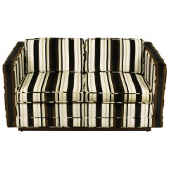 Marden Even Arm Striped Velvet Tuxedo Settee