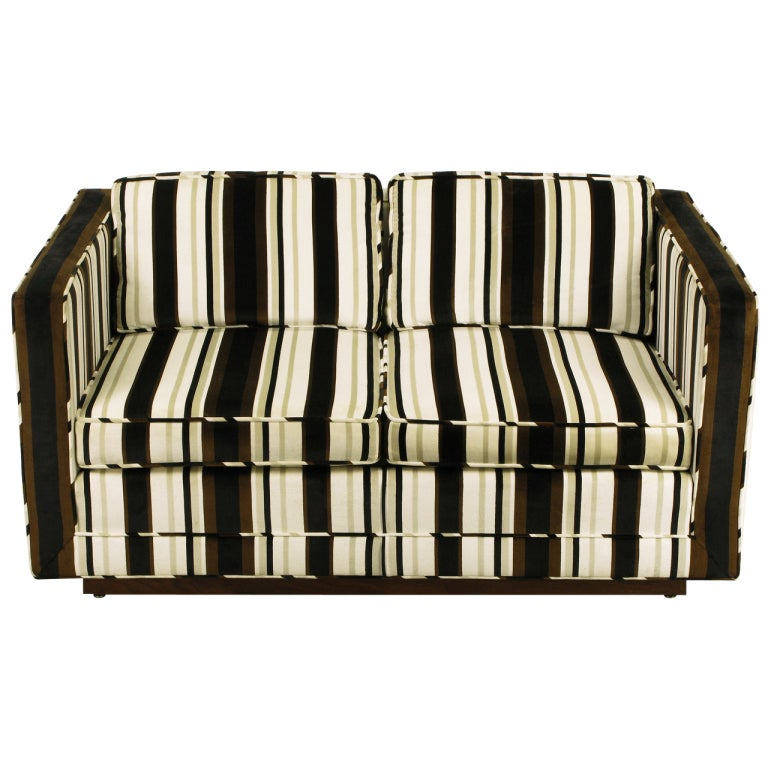 Marden Even Arm Striped Velvet Tuxedo Settee 1