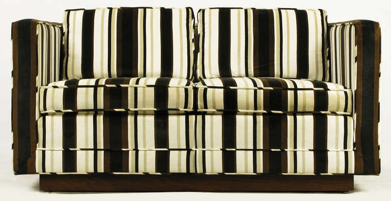 Marden Even Arm Striped Velvet Tuxedo Settee 3