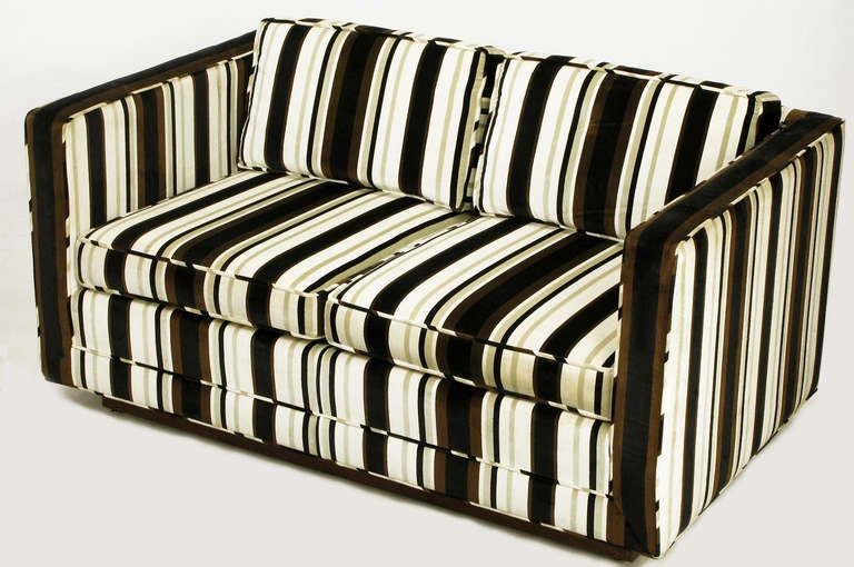 Marden Even Arm Striped Velvet Tuxedo Settee 2