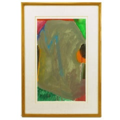 Colorful 1970s Gouache and Watercolor Abstract Painting No. 2