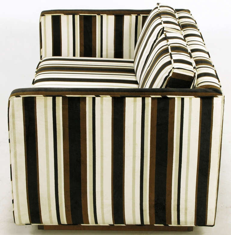 Marden Even Arm Striped Velvet Tuxedo Settee 4