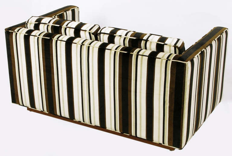 Marden Even Arm Striped Velvet Tuxedo Settee 5