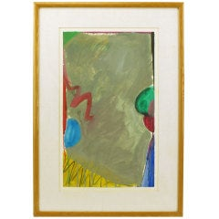 Colorful 1970s Gouache and Watercolor Abstract Painting