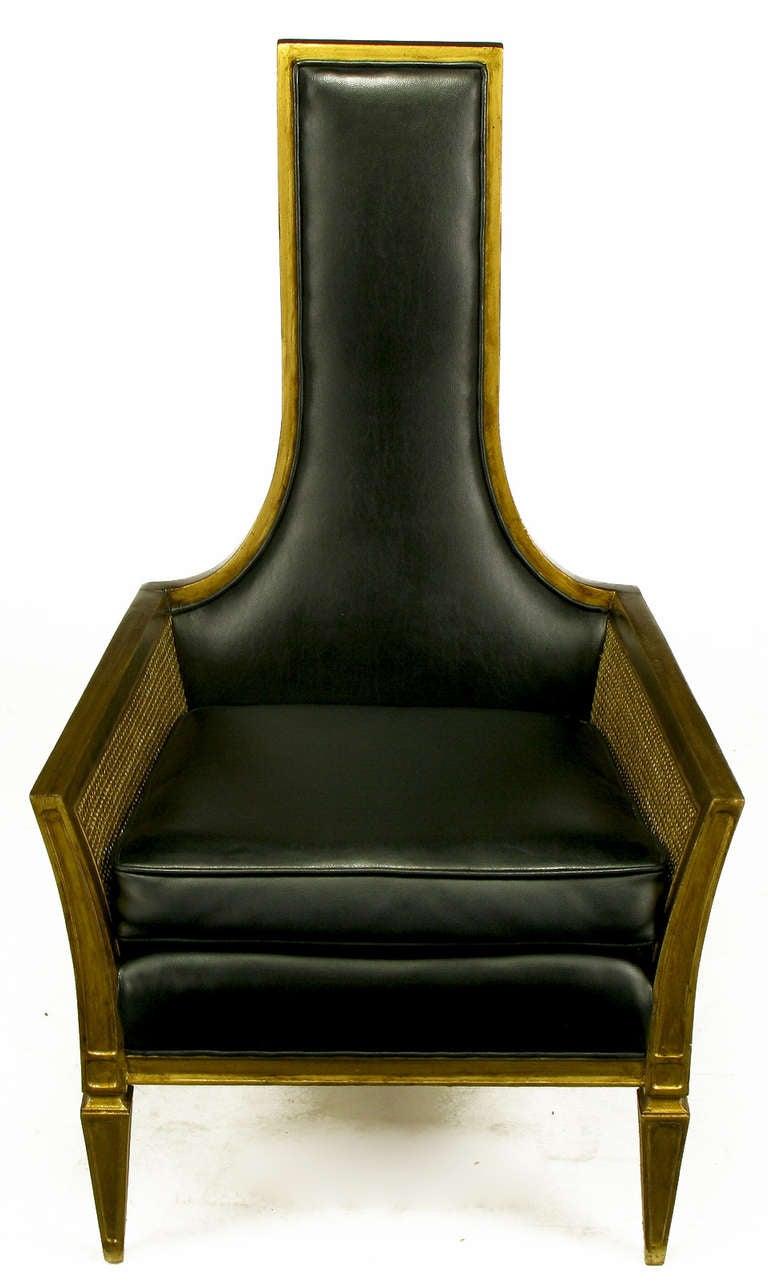 Antique Gilt Finish And Black Naugahyde Moorish Style