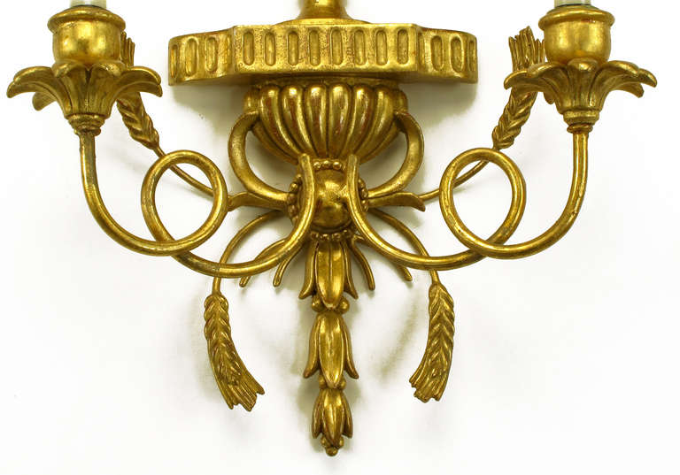Pair of Italian Tole Gilt Metal and Resin Candelabra Wall Sconces For Sale 1
