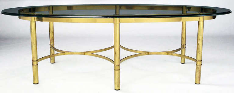 Brass Race Track Oval Coffee Table By Labarge For Sale At