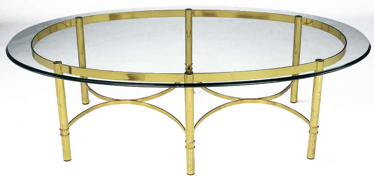 Brass Race Track Oval Coffee Table by Labarge 2