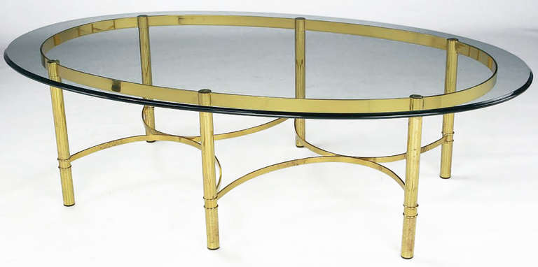 Brass Race Track Oval Coffee Table by Labarge 3