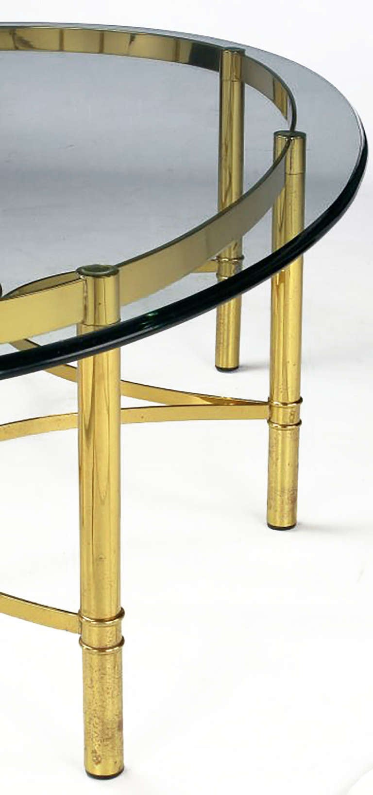 Brass Race Track Oval Coffee Table by Labarge 8