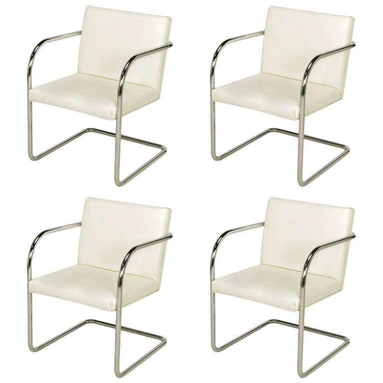 Four Thonet White And Chrome Cantilever Dining Chairs At