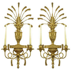 Pair of Italian Tole Gilt Metal and Resin Candelabra Wall Sconces