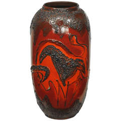 Scheruich Ceramic Tall Lava Glaze Vase with Relief Bull and Volcanos