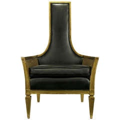 Antique Gilt Finish and Black Naugahyde Moorish Style Lounge Chair