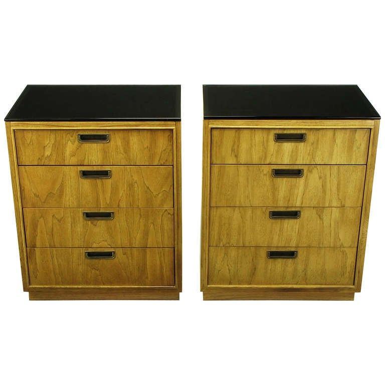 Pair of Ash and Black Glass Four-Drawer Commodes