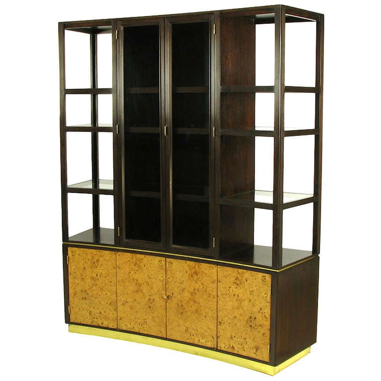 Edward Wormley Walnut and Olive Ash Burl Tall Cabinet for Dunbar 1