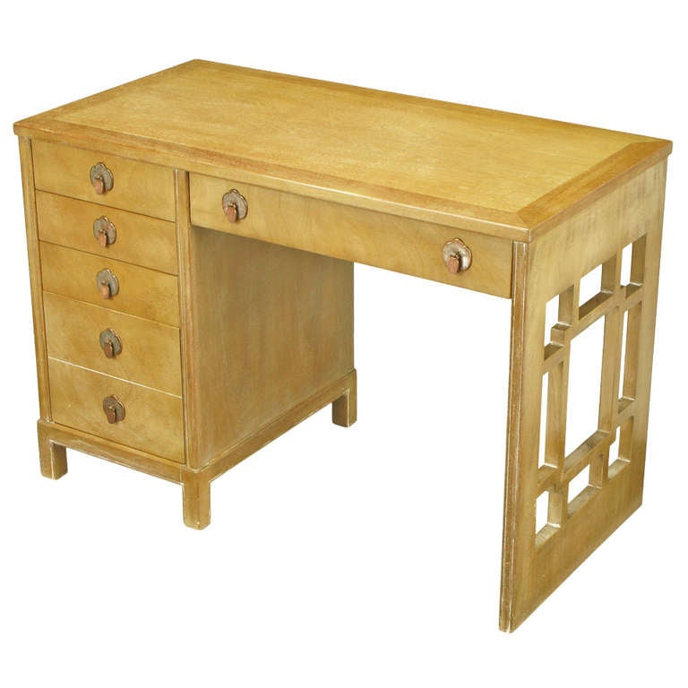 Landstrom Furniture Bleached and Limed Mahogany Six-Drawer Desk