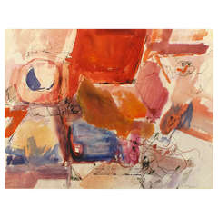 Jansen Abstract Mixed Media Painting In Red, Orange, Black & Blue
