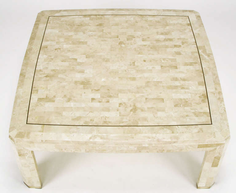 Charming Tessellated Fossil Stone And Brass Inlaid Coffee Table 3