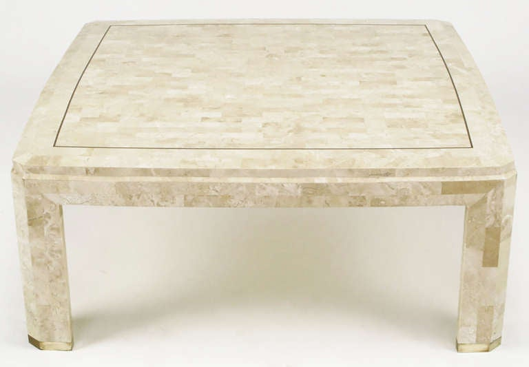Tessellated Fossil Stone And Brass Inlaid Coffee Table 2