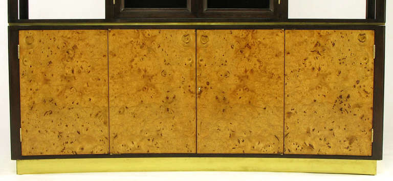 Edward Wormley Walnut and Olive Ash Burl Tall Cabinet for Dunbar 5