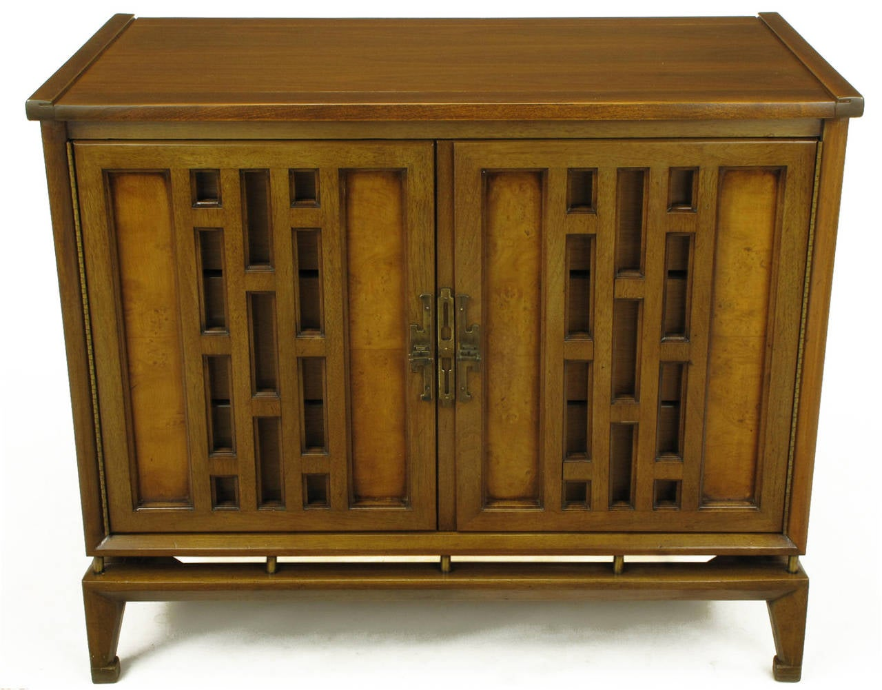 American Pair of Walnut and Burl Walnut Floating Commodes with Open Fretwork Doors For Sale