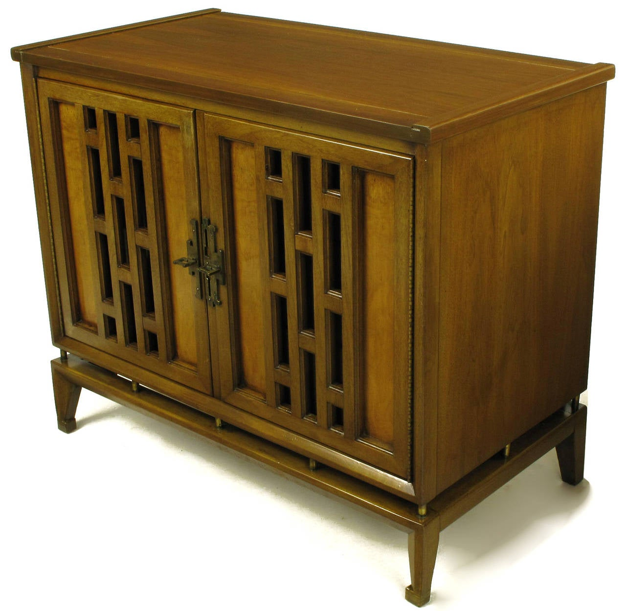 Pair of Walnut and Burl Walnut Floating Commodes with Open Fretwork Doors In Excellent Condition For Sale In Chicago, IL