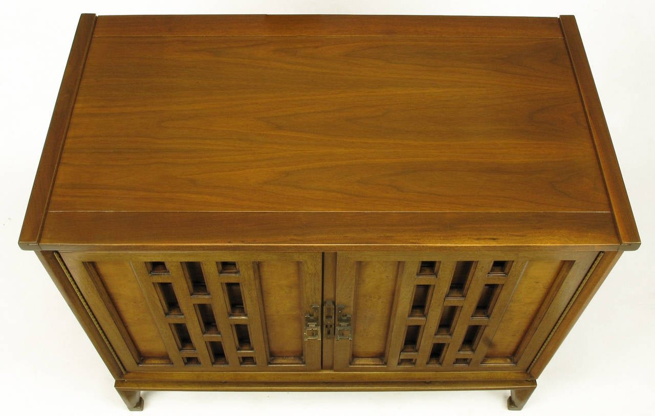 Pair of Walnut and Burl Walnut Floating Commodes with Open Fretwork Doors For Sale 3