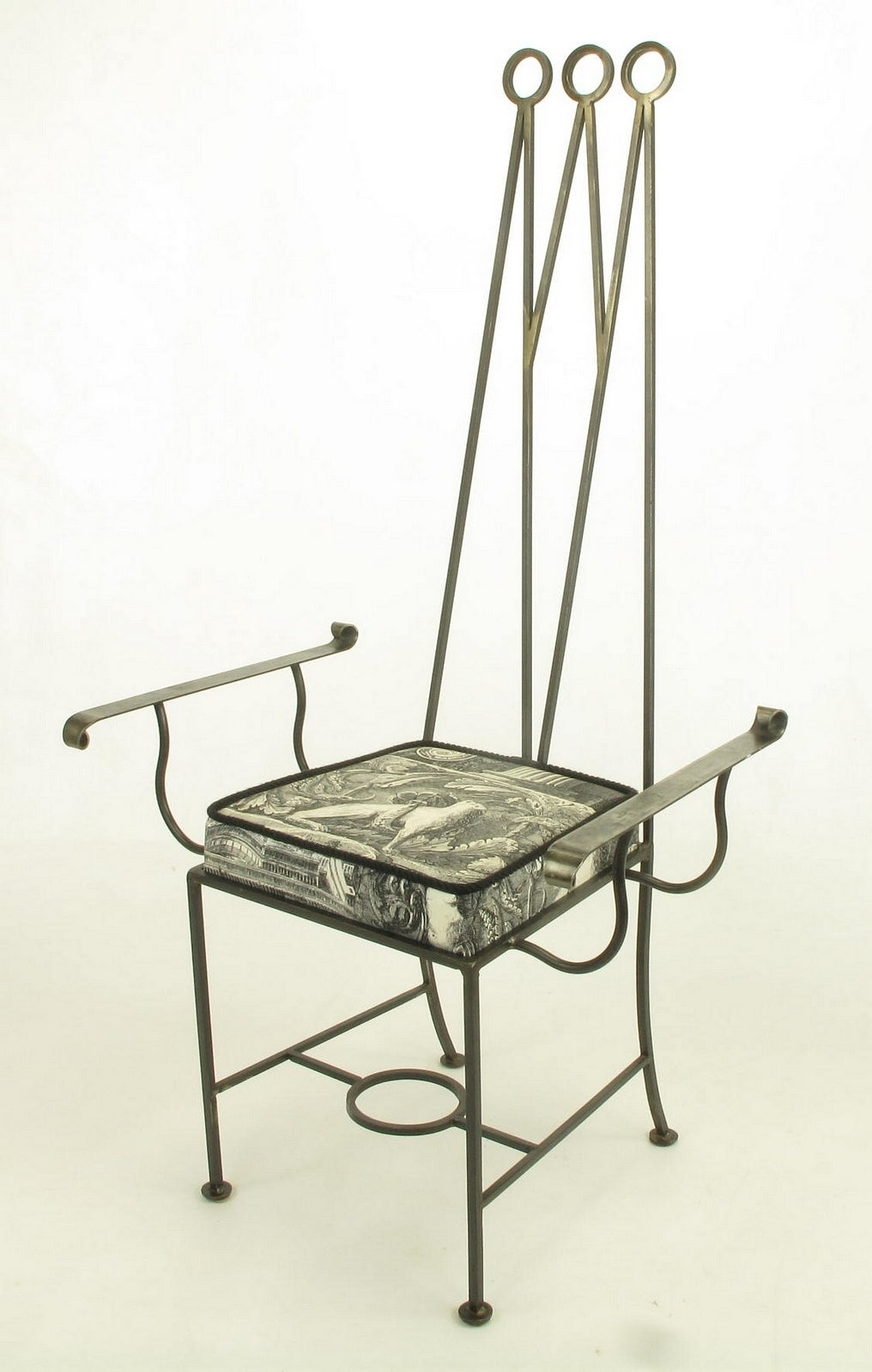 Upholstery Set of Eight Blackened, Wrought Iron, Tall
