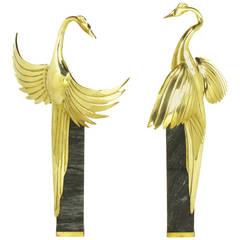 Pair of Marble Pedestal and Brass Crane Sculptures