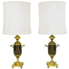 Pair of Rembrandt Lighting Brass Toned Silver and Bronze Urn Form Table Lamps