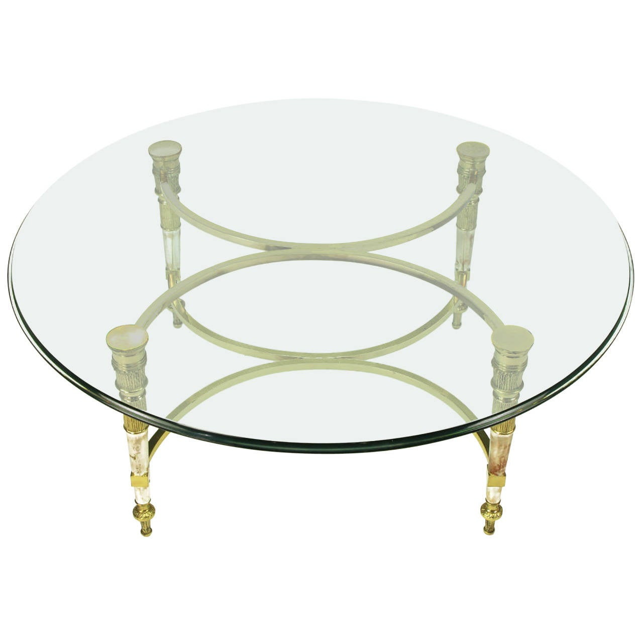 Brass and Aged Nickel Empire Style Coffee Table For Sale