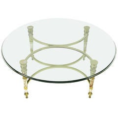 Brass and Aged Nickel Empire Style Coffee Table