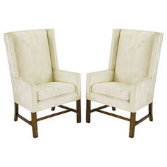 Pair of Sleek Wing Chairs in Cream Silk Damask