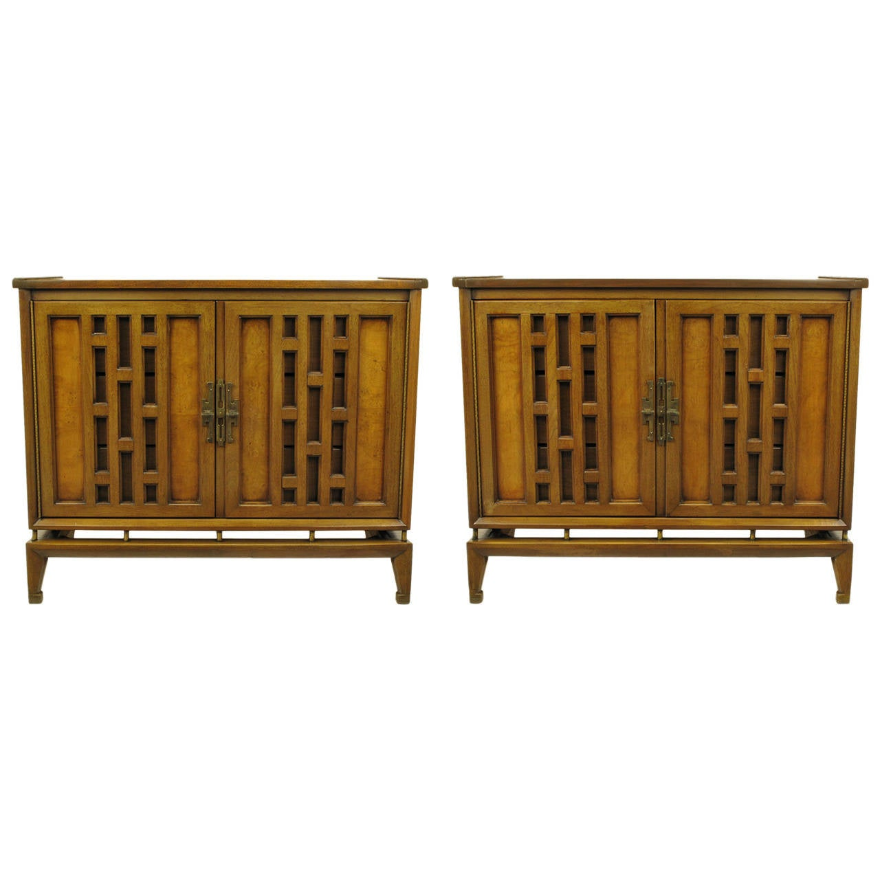 Pair of Walnut and Burl Walnut Floating Commodes with Open Fretwork Doors For Sale