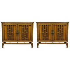 Pair of Walnut and Burl Walnut Floating Commodes with Open Fretwork Doors