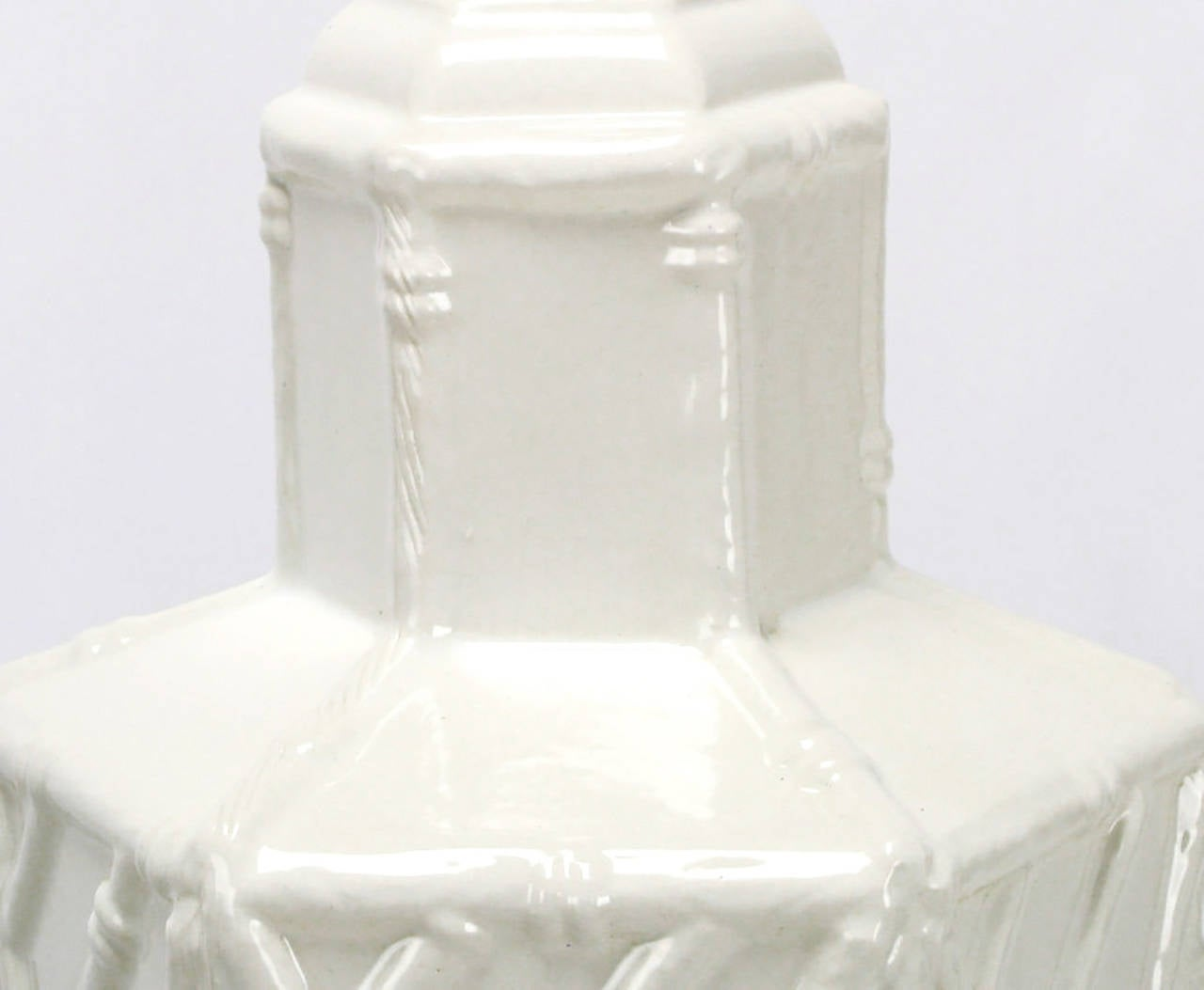 American Pair of White Ceramic Hexagonal Bamboo Relief Table Lamps For Sale