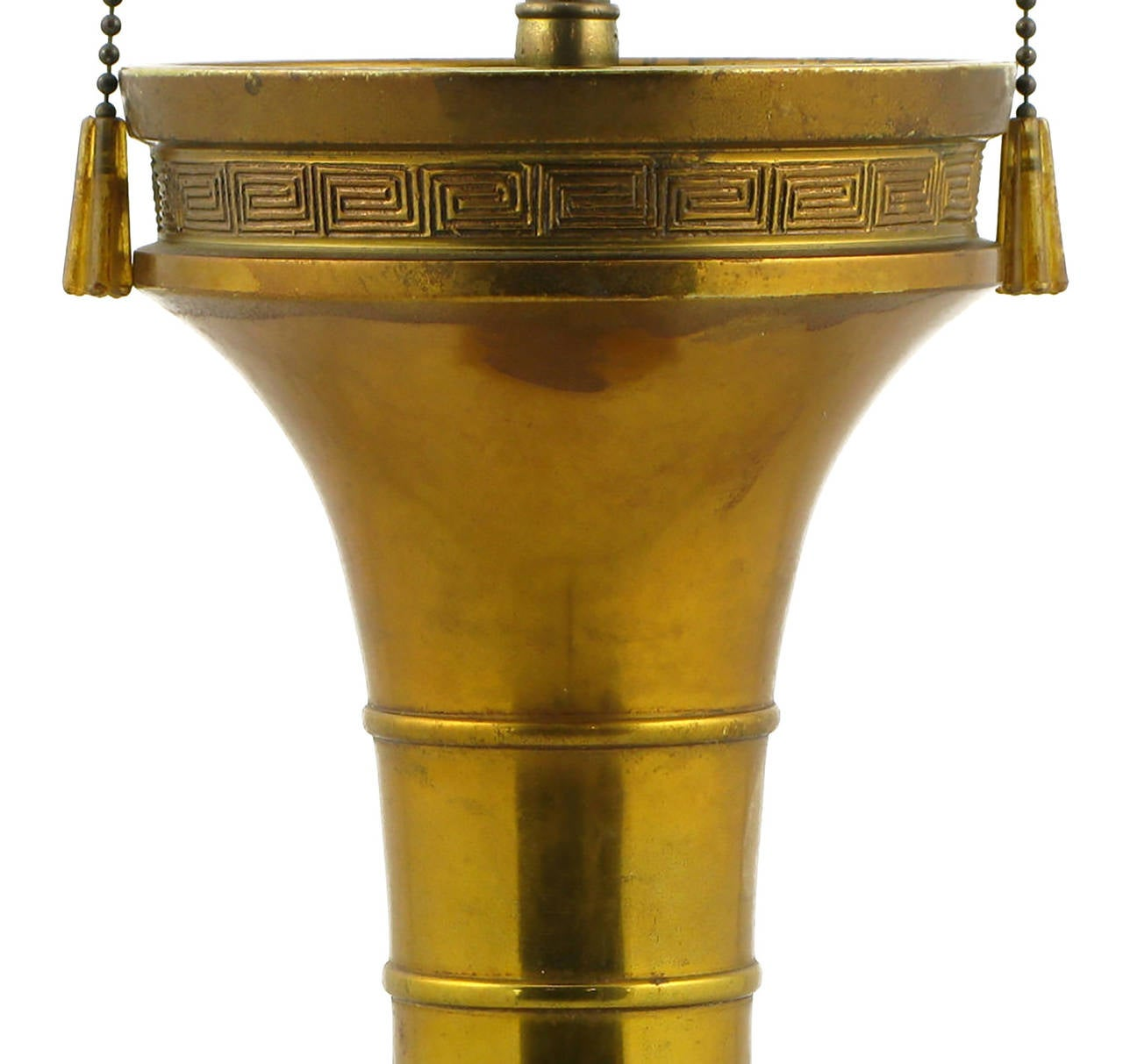 Lacquered Large Incised Brass Chinoiserie Table Lamp For Sale