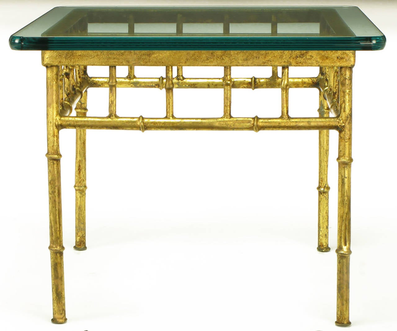 Pair of glazed gilt metal faux bamboo end tables for sale for Bamboo side table