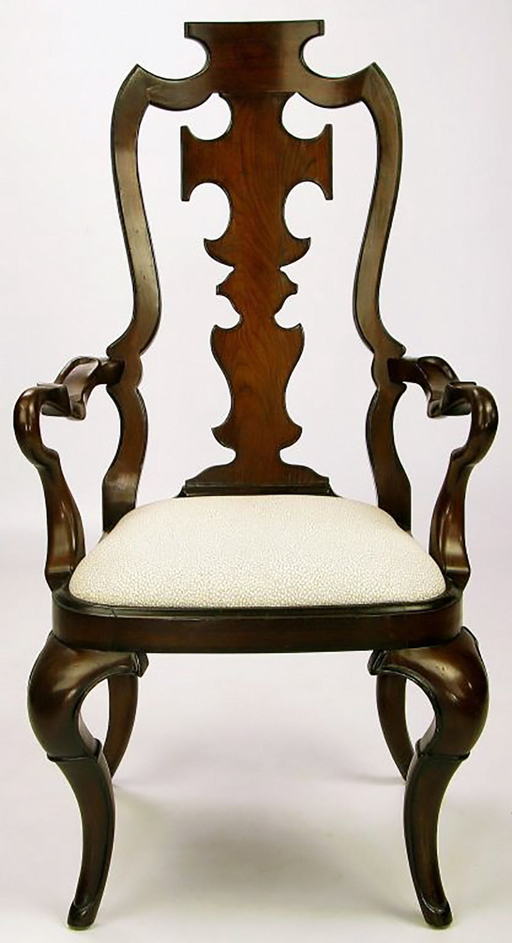 American Pair of High Back Carved Walnut Gothic Style Armchairs For Sale