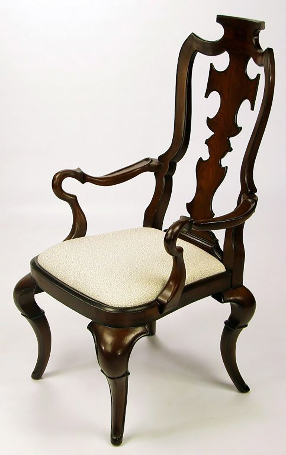 Pair of High Back Carved Walnut Gothic Style Armchairs In Good Condition For Sale In Chicago, IL