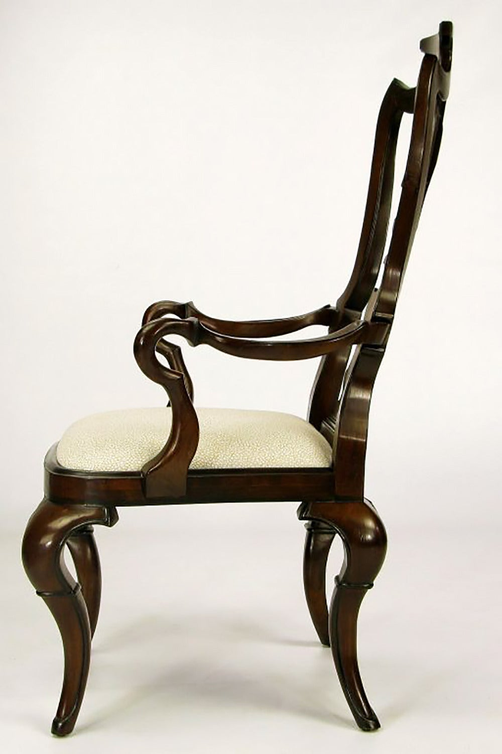 Late 20th Century Pair of High Back Carved Walnut Gothic Style Armchairs For Sale