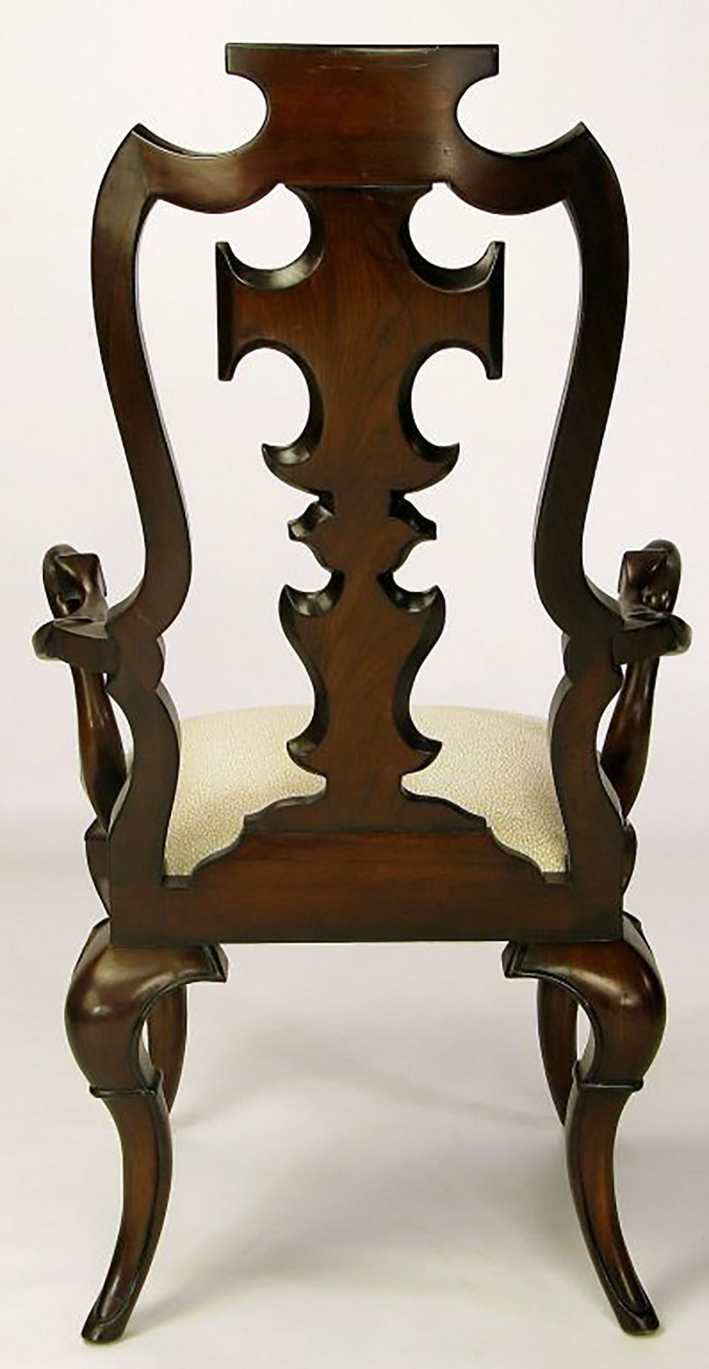 Upholstery Pair of High Back Carved Walnut Gothic Style Armchairs For Sale