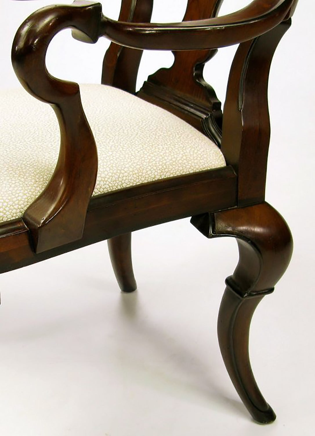 Pair of High Back Carved Walnut Gothic Style Armchairs For Sale 1