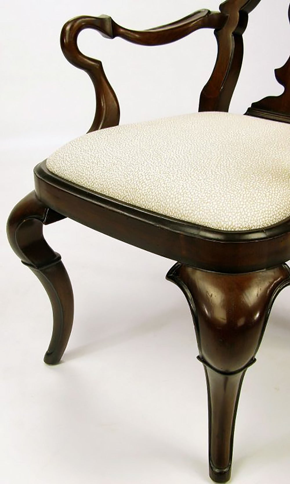 Pair of High Back Carved Walnut Gothic Style Armchairs For Sale 2