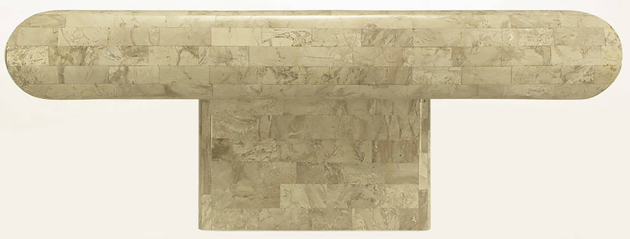 American Taupe Tessellated Fossil Stone Pedestal Coffee Table For Sale