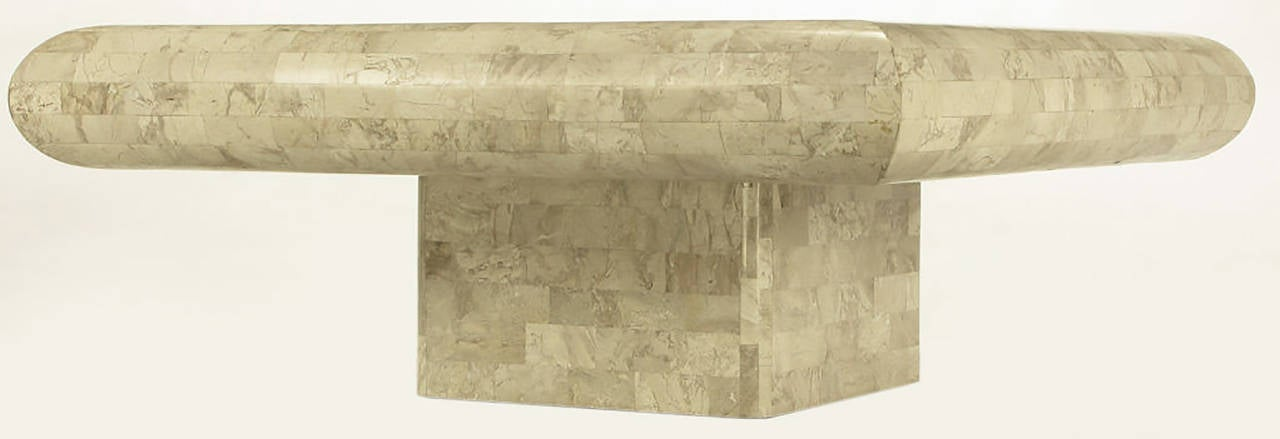 Late 20th Century Taupe Tessellated Fossil Stone Pedestal Coffee Table For Sale