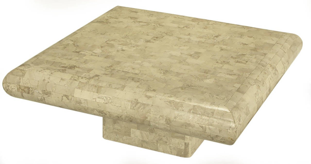 Gesso Taupe Tessellated Fossil Stone Pedestal Coffee Table For Sale
